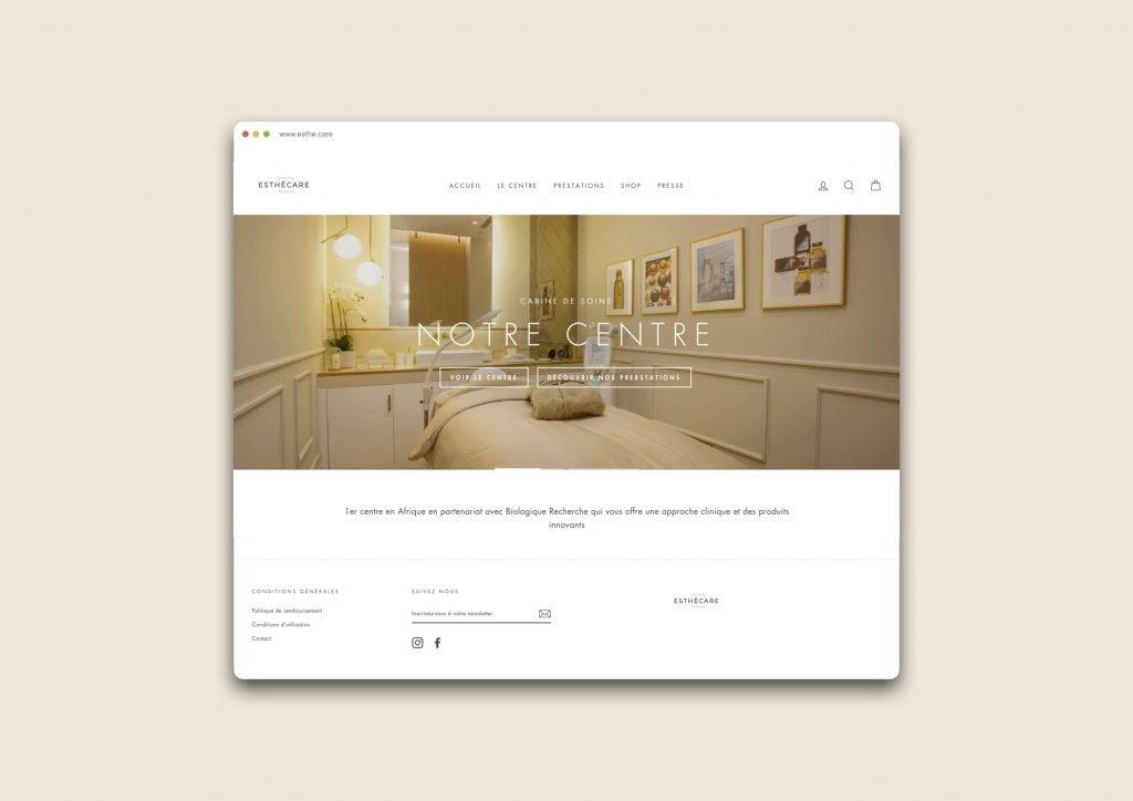 Mockup du site web desktop du centre Esthécare