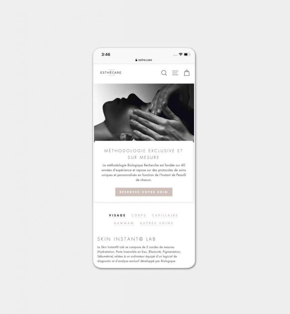 Mockup mobile du site web du centre Esthécare